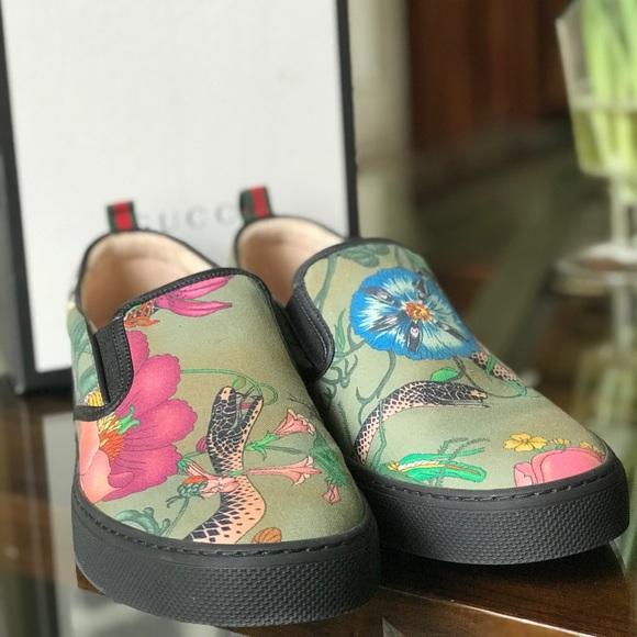 Gucci Shoes | Gucci Flora Snake Slipon